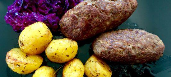 Roladki z mięsa z pieczonymi ziemniaczkami